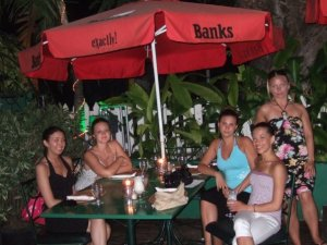 Barbados under the Banks Umbrella - Kyla, seated far right